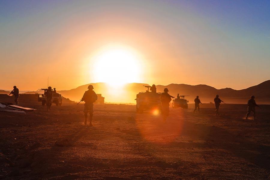 Soldiers in Desert